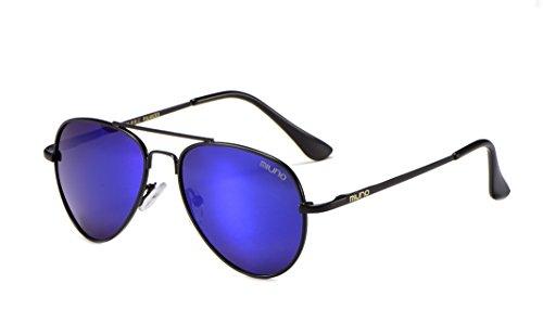 Miuno Kinder Polarisiert Sonnenbrille verspiegelt Polarized für Jungen und Mädchen Etui 3025k (Blauverspiegelt/Schwraz)