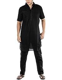 Royal Kurta Men's Luxury Cotton Pathani Kurta Pyjama Set _Half Sleeves