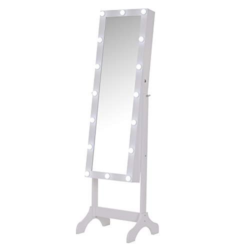 Homcom Armoire à Bijoux avec Miroir sur Pied Multi-rangements Inclinaison et éclairage LED réglable dim. 49L x 40l x 158H cm Blanc