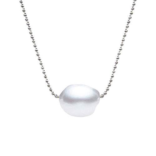 Secret & You Collar de Perla Cultivada de Agua Dulce Compuesto por una Cadena de Acero y un Colgante Perla de 11-12mm Cierre cómodo y súper Seguro.
