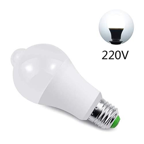 Bombilla LED con sensor de movimiento, E27, 12 W, 220 V, luz nocturna blanco