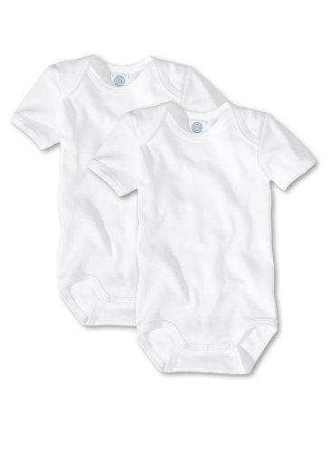 Sanetta Unisex - Baby Body 321860, 2Er Pack, Einfarbig, Gr. 98, Weiß (White 10)