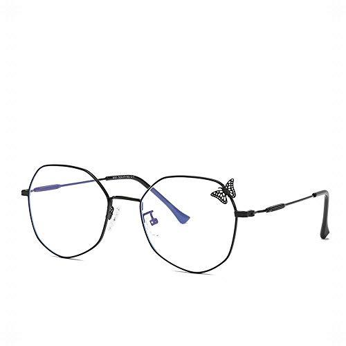 Polarisierte Sonnenbrille mit UV-Schutz Womens Openwork Butterfly Brillengestell Retro Polygon Flacher Spiegel Anti-blaue Brille. Superleichtes Rahmen-Fischen, das Golf fährt ( Farbe : Schwarz )