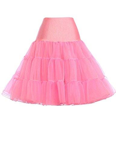 KekeHouse® Damens 50s Retro-Stil Unterkleid Schwingend Unterrock Rosa