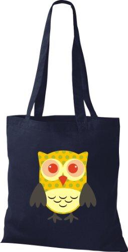 Stoffbeutel Bunte Eule niedliche Tragetasche mit Punkte Owl Retro diverse Farbe blau