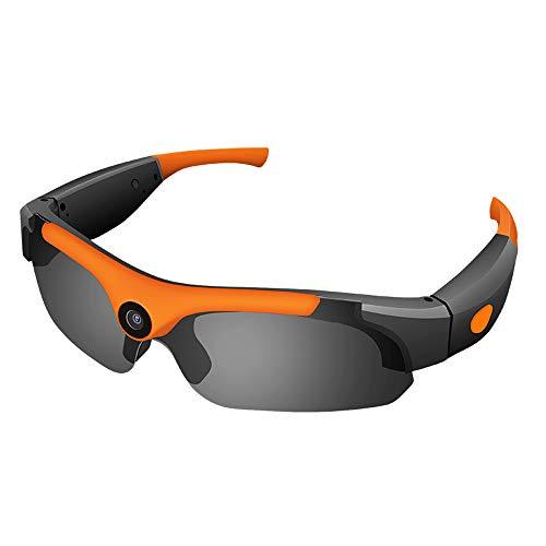 Luckyza 1080P Action Kamera Brille Mini Versteckte 170 ° Linse Sport Kamera 8MP Multifunktionale HD-DV Sport Sonnenbrille Für Angeln Trave Radfahren Klettern,Orange