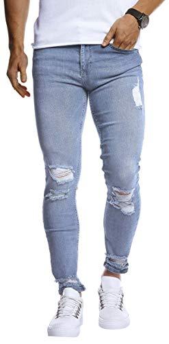 Leif Nelson Herren Jeans Hose Slim Fit Denim Blaue graue Lange Jeanshose für Männer Coole Jungen weiße Stretch Freizeithose Schwarze Cargo Chino Sommer Winter Basic LN9145 Hell Blau W34/L30 -