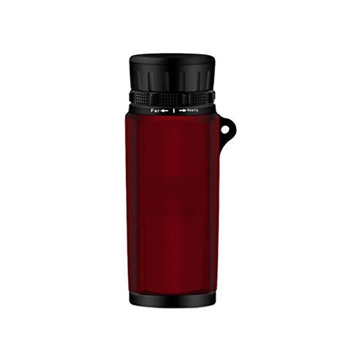 HBWJSH Teleskop Pocket HD Portable Monocular Looking Glasses Low Light Level Nachtsicht Wasserdicht Nicht-Infrarot (Farbe : Red) (Farbe Glass Looking)