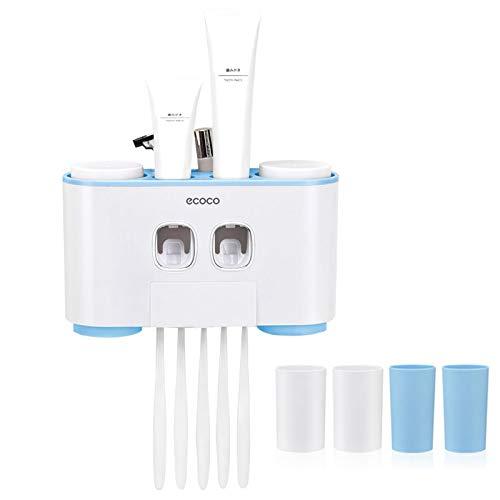 Automático Dispensador de Pasta de Dientes y Conjunto de Portacepillos de Dientes con Montaje en la Pared - Manos Libres 2 de Pasta de Dientes con 5 Cepillos Fijados - Aptos para niños y adultos