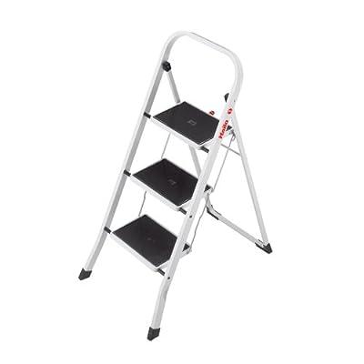 Hailo K40 BasicLine Stahl-Trittleiter, 2/3 Stufen, Sicherheitsbügel, Klappsicherung, einfach zu verstauen, belastbar bis 150 kg