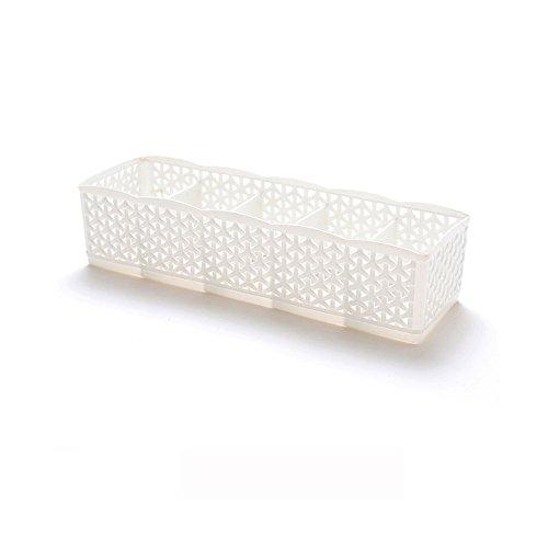JackRuler Kunststoff Organizer Tie Bra Socken Aufbewahrungsbox Schublade Cosmetic Divider Desktop Aufbewahrungs Tidy(5-Zellen) (weiß)