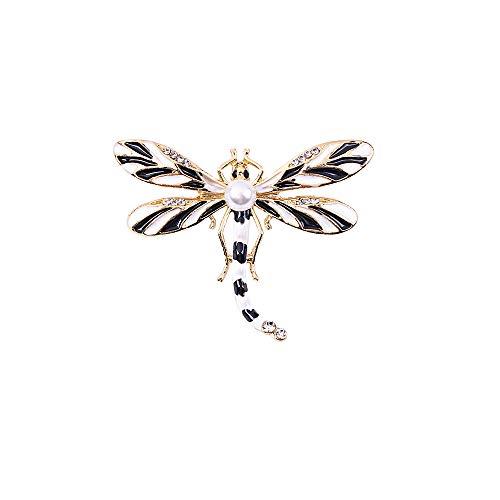 Yazilind Imitation Perle Libelle Broschen für Frauen Vintage Kleidung Dekoration Schmuck Kristall Brosche Pins (Schwarz)