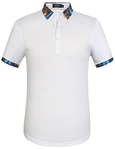 SSLR Herren Button Down Einfarbig Kurzarm Casual Polo Shirt Weiß