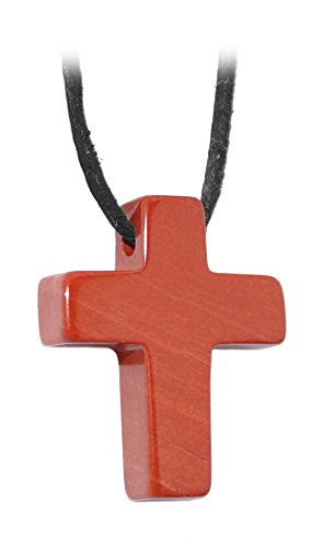 Kaltner Präsente Geschenkidee - Lederkette für Damen und Herren mit Kreuz Anhänger aus dem Edelstein Roter Jaspis