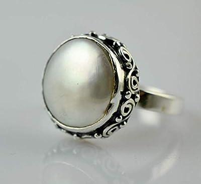 Bague en perles d'eau douce, bague en argent perlé, argent massif 925, bague en pièces de monnaie, bague en perles de monnaie faite à la main, taille 44 à 64 FR
