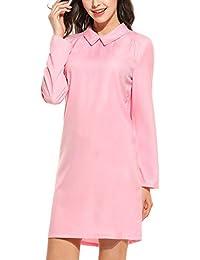 19a1eb3927258 Bricnat Damen Chiffon Blusenkleid mit Falten Hemdkleid Langarm Loose Shirt  Longshirt Kleid Casual…