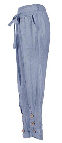 Texture Online, pantaloni leggings da donna, stile italiano Lagenlook, 3 bottoni in legno, cintura e tasca, taglia unica Cornflower Blue