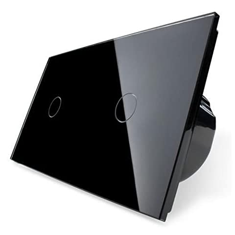 Design Glas Touch Lichtschalter 2 fach Ein/Aus schwarz