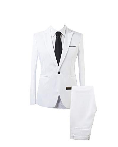 AnyuA Traje Suit de 2 Piezas Manga Larga Blazers para Hombre Blanco L