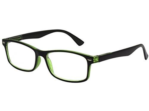 Tboc® occhiali da vista lettura presbiopia - graduati +2.50 diottrie montatura bicolore nera e verde fashion leggeri quadrati da vicino per computer donna e uomo unisex aste con cerniere con molla