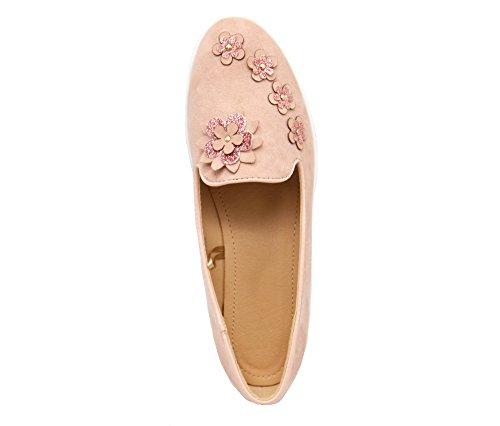 SHP105 * Mocassins Slippers Effet Daim Rose avec Multi Fleurs Paillettes et Semelle Compensée Blanche Rose