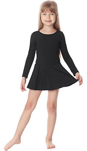 Merry style body vestitino ballerina bambina e ragazza ms10-138(nero, 122)