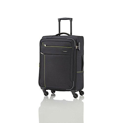 Travelite SOLARIS 4 Rad Trolley M, erweiterbar, 88148-01 Koffer, 67 cm, 73 L, Schwarz/Limone
