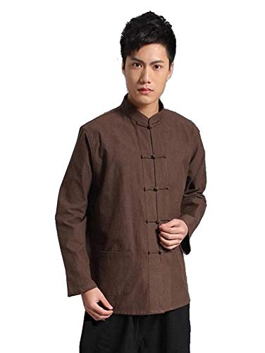 China Kostüm Aus - XPF Traditionelles China Antikes Kostüm Kampfkunst Tangzhuang Kung Fu Langarm Jacke Anzüge Hemd Uniform Männer,Coffee-XL