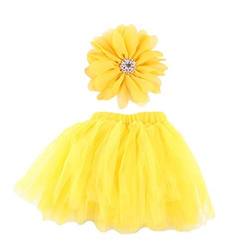 A0127 Neugeborenes Baby-Foto-Stütze-Ballettröckchen-Rock-Stirnband-Satz gekräuselter Bowknot-Tüll-Kleid-Blumen-Hairband-Partei-Kostüm-Ausstattungen 0-9 Monat (Rosa Und Lila Blumen Ballettröckchen Baby Kostüme)