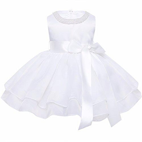 YiZYiF Baby Mädchen Kleid Taufkleid Festlich Kleid Hochzeit Partykleider Kleinkind Kinder Kleidung Organza Festzug für 3 Monate - 3 Jahre Elfenbein - Süße Edel Kostüm