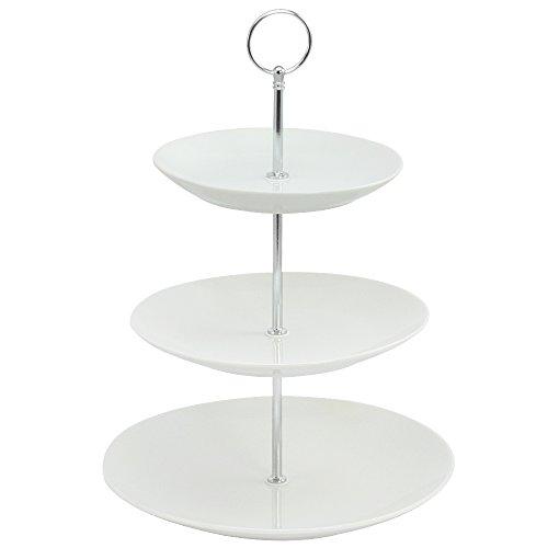 COM-FOUR® Etagere Porzellan mit 3 Ebenen, Höhe 36,5cm, Gebäckschale, Obstschale