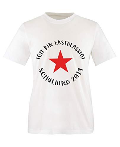 Comedy Shirts - Ich bin erstklassig! Schulkind 2019 - Jungen T-Shirt - Weiss/Schwarz-Rot Gr. 122/128 - Land Check Shirt