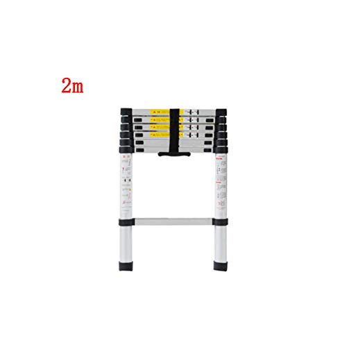 KTYXDE Escalera Plegable telescópica portátil de bambú Escalera de ingeniería Escalera Recta Interior aleación de Aluminio Grueso Taburete (Size : 2m)