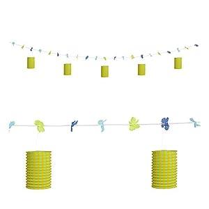 WIDMANN Guirnalda flores y farolillos verde y amarillo 3 m