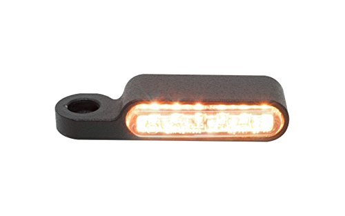 LED-Blinker Blinkergehäuse für 40mm LED Einsätze E-geprüft , einbau-blinker Blinkerhalter Lenker-armaturen Blinker schwarz Pulver beschichtetet Universal Motorrad HD Harley Davidson (LED helles Glas) (Harley Led-blinker-einsätze)