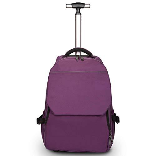 XHHWZB Leichtes Geschäftsreise-rollendes Rollen-Laptop PC-Tablet-Computer-Laufkatzen-Rucksack-Koffer-Handgepäck-Kabine genehmigte Taschen-Kasten-Organisator mit Nachtabteil, schwarz (Farbe : Purple)