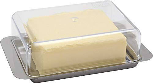 APS Kühlschrank-Butterdose - hochwertiger Edelstahl Butter Behälter Made in Germany - langlebig und Nicht rostend 16 x 9,5 x 5,5cm, Nicht spülmaschinenfest