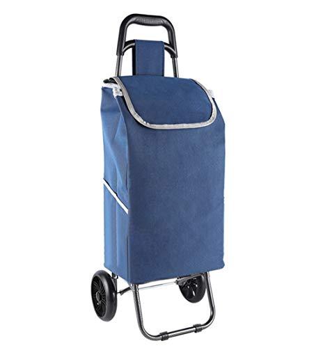 QIANGDA-Handwagen Einkaufstrolley Faltbar Einkaufswagen Picknick-Wagen Mit Rollenden Rädern Abnehmbarer Rucksack Leicht, Höhe 93cm, 6 Farben (Farbe : Dunkelblau)