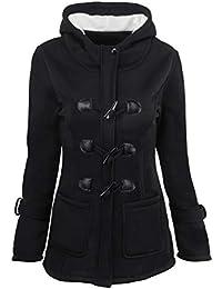 Baijiaye Mujer Invierno Abrigo Casual Sudadera con Capucha Largo Trenca  Chaqueta Otoño Jacket Parka Duffle Coat 278ac8f0bc36