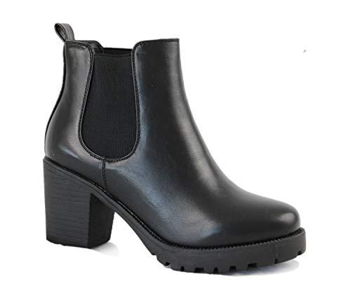 irisaa Chelsea Ankle Boots Damen Stiefeletten mit Absatz, Schuhgröße 36-41:39, Winterschuhe Farbe 2019:Schwarz