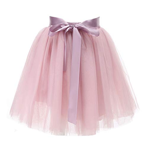 Rosa Damen Kind Satin Kostüm - Facent Damen 7 Schichten 50cm Knielang Tüllrock Tutu Tüll Kleid Rock Reifrock Abendrock Altrosa