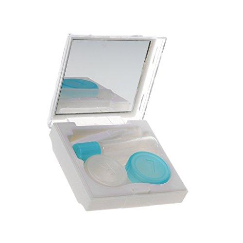 Gazechimp Tragbar Kontaktlinsen Behälter, Linsenbehälter mit Spiegel usw. Werkzeug - Weiß (Linsenbehälter Spiegel)