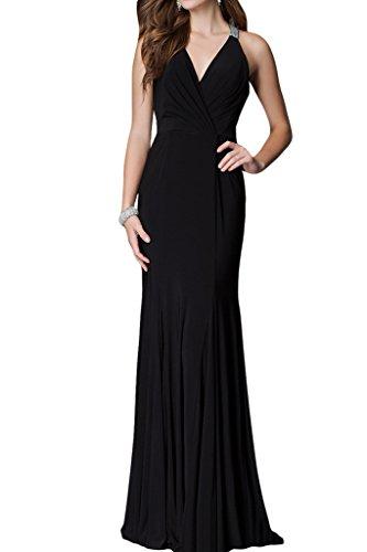 ivyd ressing Femme col V sexuellement Long Party robe mousseline Prom robe robe du soir Noir - Noir