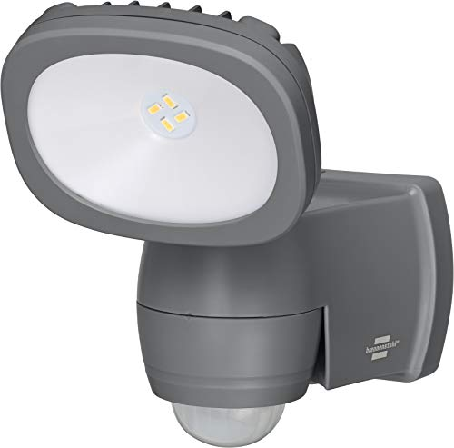 Brennenstuhl Batterie LED Strahler LUFOS / Kabelloser LED Strahler mit Batterie und Bewegungsmelder (IP44, 4 superhelle hochwertigen Marken LED´s, 210 Lumen) grau