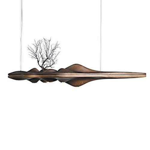 Kreative UFO Massivholz Harz Kronleuchter Lampe chinesischen japanischen Nordic LED Kronleuchter Retro Zweig Lampe für Wohnzimmer, Alle dunkle Farbe, warmes Weiß 5x3w, 120X40X23cm, Massivholzkörper 120-v-ac-zweig