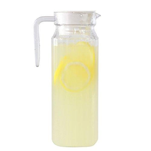 Quadratisch Kunststoff Krug Kühlschrank Krug mit Deckel–1.1Liter Karaffe