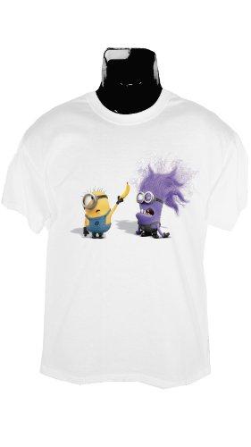 Vivid clothing Evil, Lila Minion T Shirt, Herren, Unisex, Despicable Me 2 Gr. Größe L, Weiß (Neue Shirt Böse)