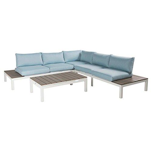 OUTLIV. Exklusive Gartenmöbel Hamilton Loungemöbel Aluminium/Polywood/Polster 5-tlg Grau/Türkis...