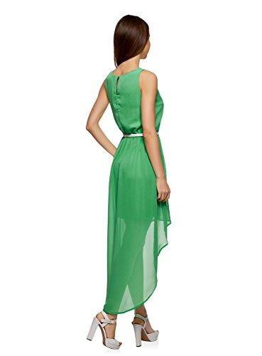 oodji Collection Donna Abito senza Maniche con Orlo Asimmetrico Verde (6A00N)