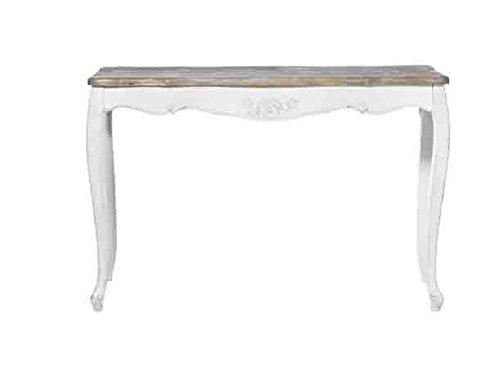Consolle bianca in legno con rifiniture color legno L'ARTE DI NACCHI in stile vintage YY-13